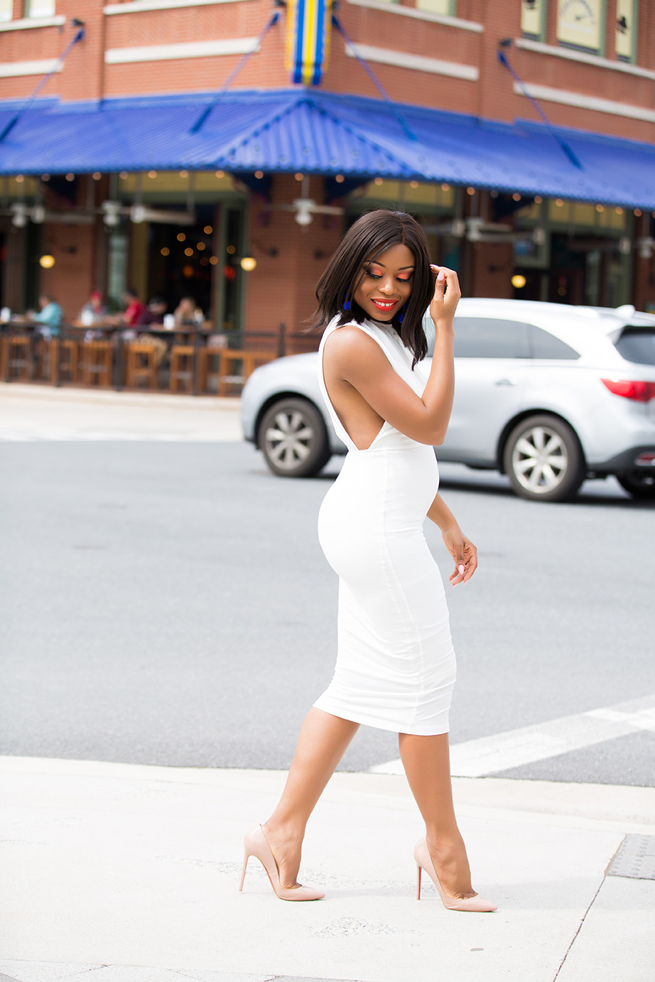 pregnancy style, midi white dress, www.jadore-fashion.com