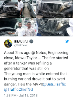 Nigerian Paul Walker drive out an SUV to escape death in Lagos island
