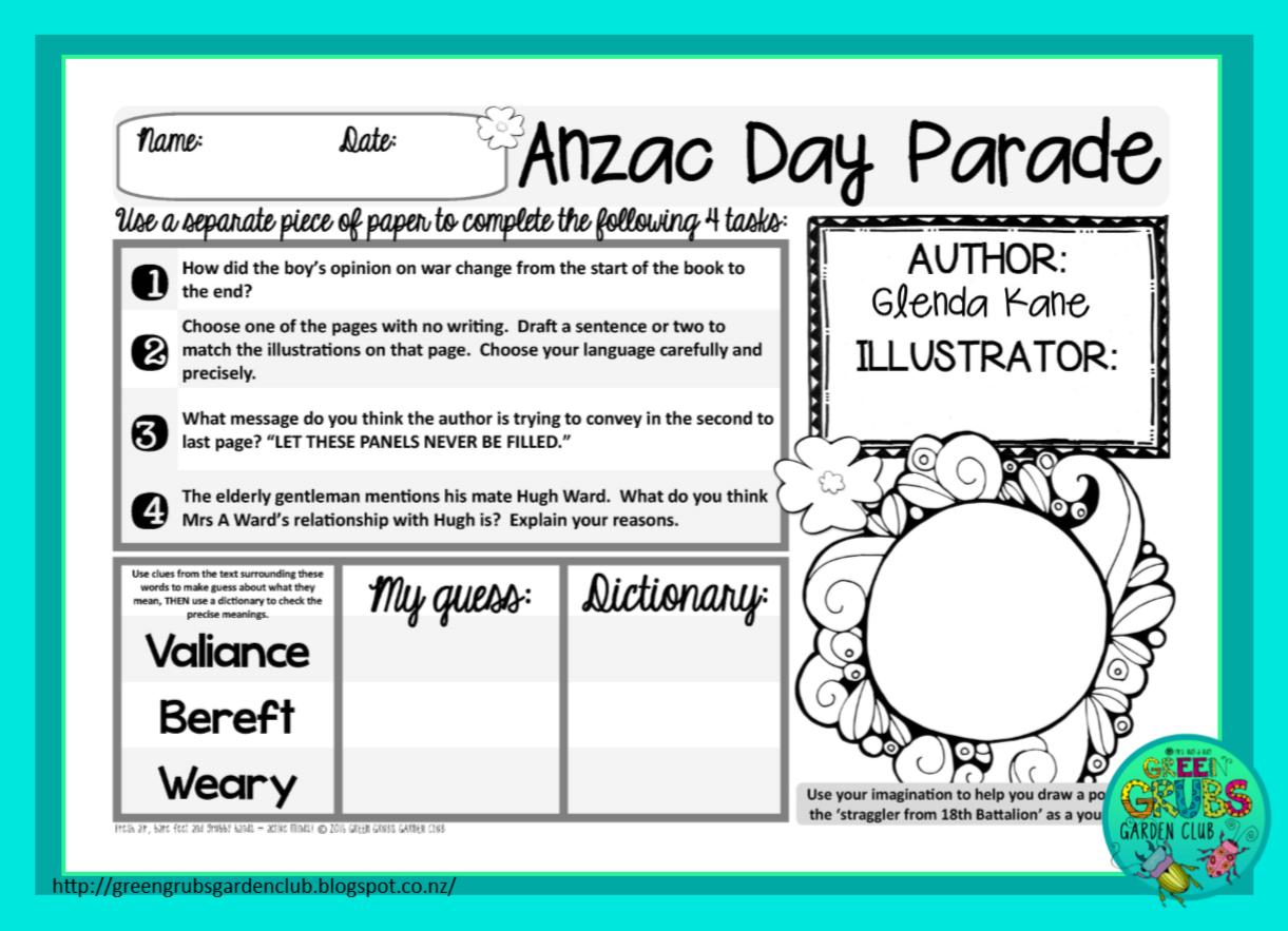 Green Grubs Garden Club Best Read Alouds For Anzac Day