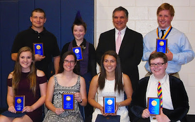 Recipients of the Cougar Culture Award pose with Tri-County Principal Michael Procaccini after Honors Night on Wednesday, June 1. Top row (from left to right): Zachary Keeler, of Bellingham, Carolyn Kiely, of North Attleborough, Principal Michael Procaccini, and Tyler Thomas, of North Attleborough. Bottom row (from left to right): Shannon Zogalis, of North Attleborough, Shaina Flanagan, of Norfolk, Isabella Leonardi, of Plainville, and Katherine Pensak, of Walpole. Not pictured: Emma Mangiacotti, of Medfield.