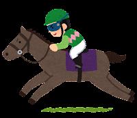 馬に乗るジョッキーのイラスト(緑)