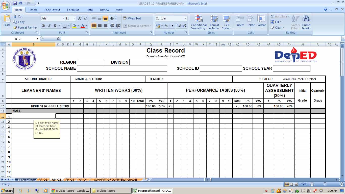 Download E Class Record Template Manuel L Quezon Hs