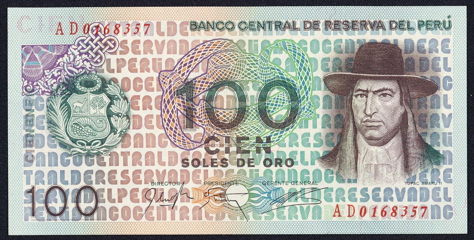 Peru 100 Soles De Oro Banknote 1976 Tupac Amaru Ii World