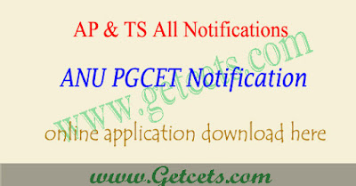 ANU PGCET 2019 notification, anupgcet application form 2019