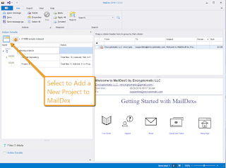 "Screen image showing the location of MailDex software's ""Add project"" button."