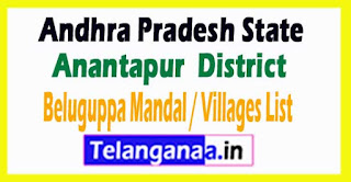 Beluguppa Mandal Villages Codes Anantapur District Andhra Pradesh State India