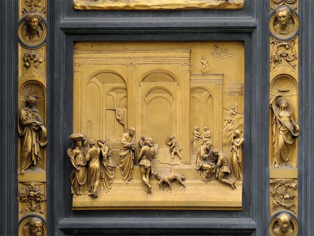 Isaac with Esau and Jacob, copy of the original bronze panel of the Gates of Paradise by Lorenzo Ghiberti, Baptistry of Saint John, Florence