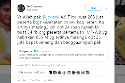 PEDAS! Tabok Jokowi yang Heran Dana Talangan BPJS Kurang, Dokter Gunawan: Buang-Buang Uang di Pertemuan IMF Kok Bangga?