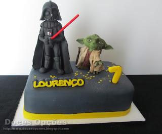 O Yoda e o Darth Vader no aniversário do Lourenço