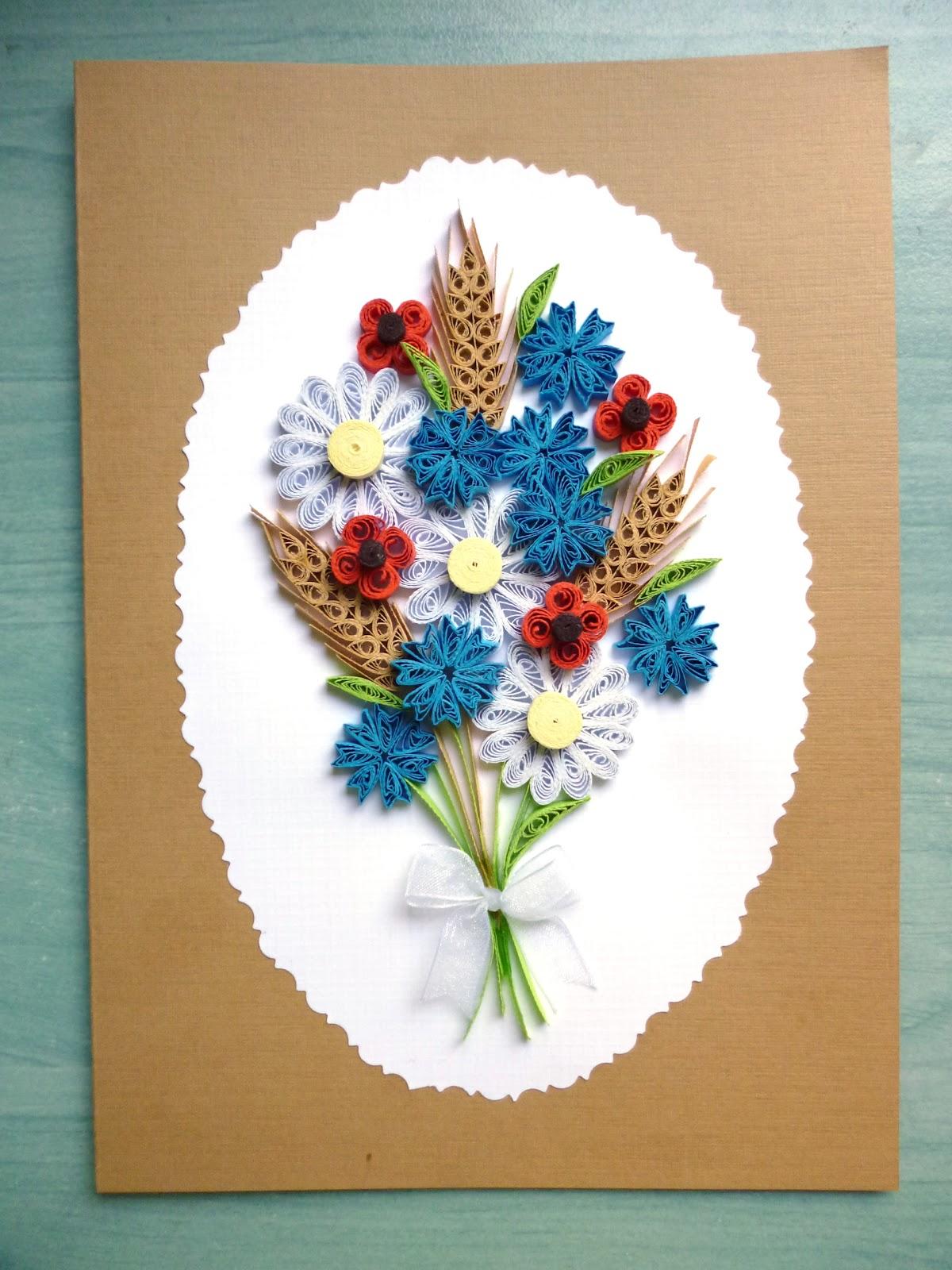 papírvilág virágos üdvözlet  quilled flower card