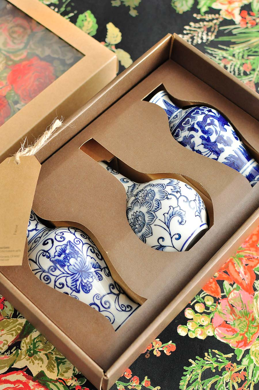 Mini blue and white ginger jar vases  ready for gift giving!