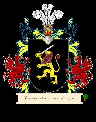 czarny herb lew z mieczem
