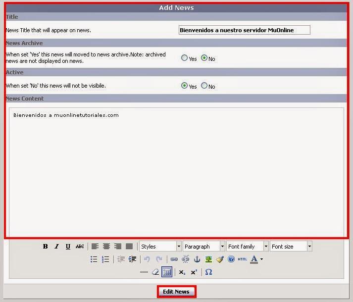 Configurando parámetros para agregar una noticia a la web MuCore
