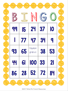 French Bingo game for numbers
