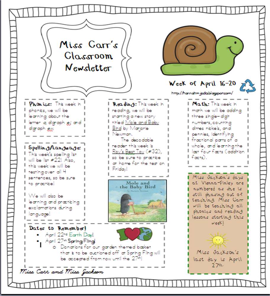 The grade three jamboree april 2012 for Free april newsletter template
