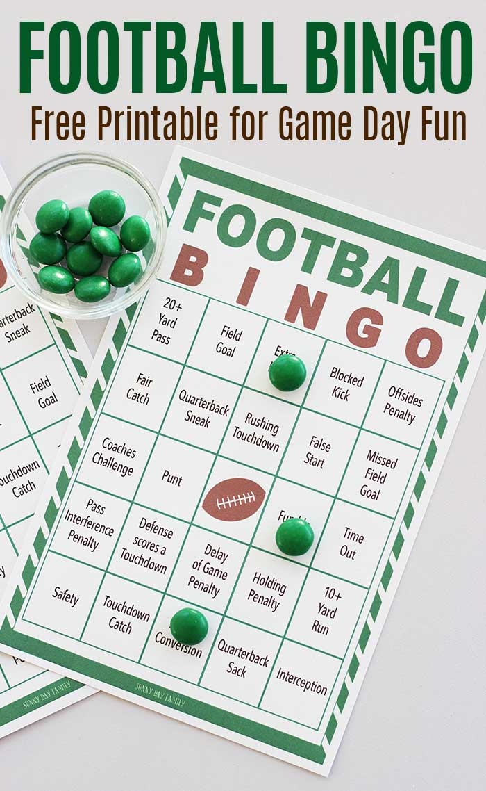 This is an image of Dynamic Free Printable Football Bingo Cards