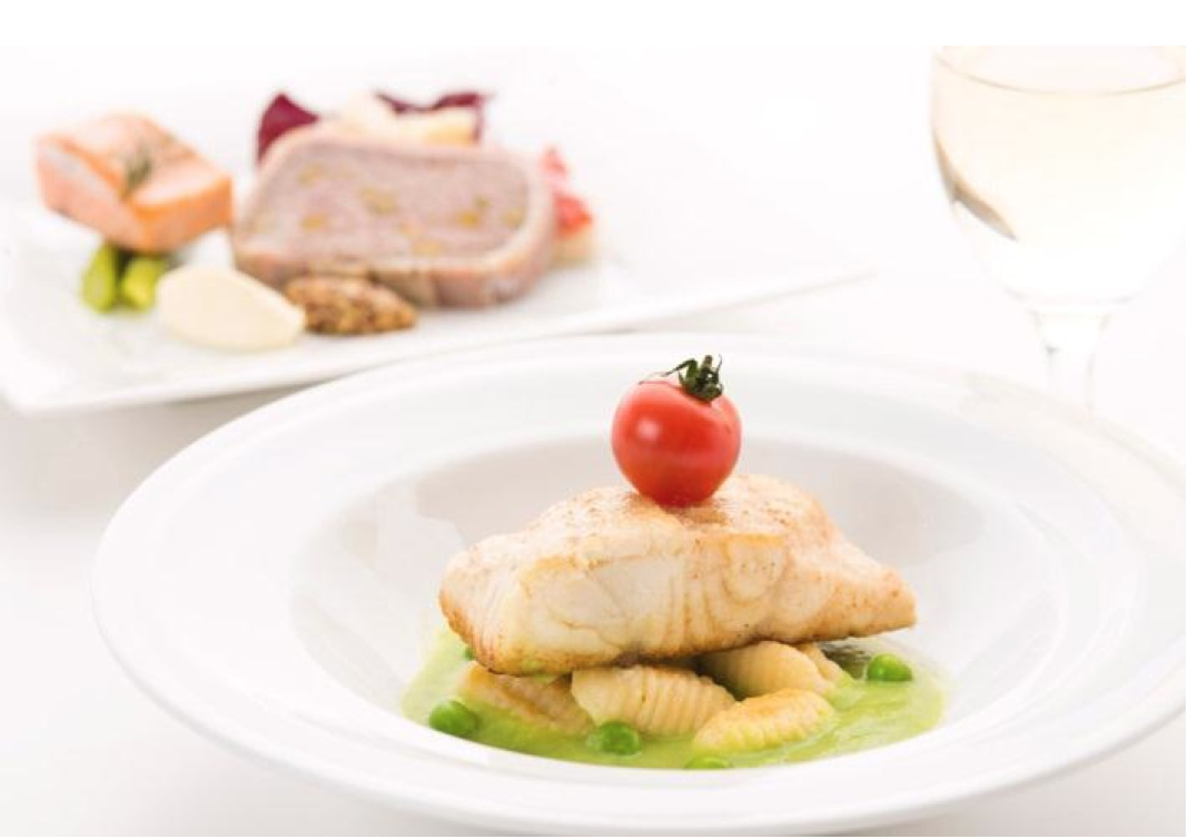JAL Business Class menu designed by Chef Naoki Uchiyama: Sautéed Chilean Sea-bass & Ricotta Cheese Gnocchi with Green Pea Sauce