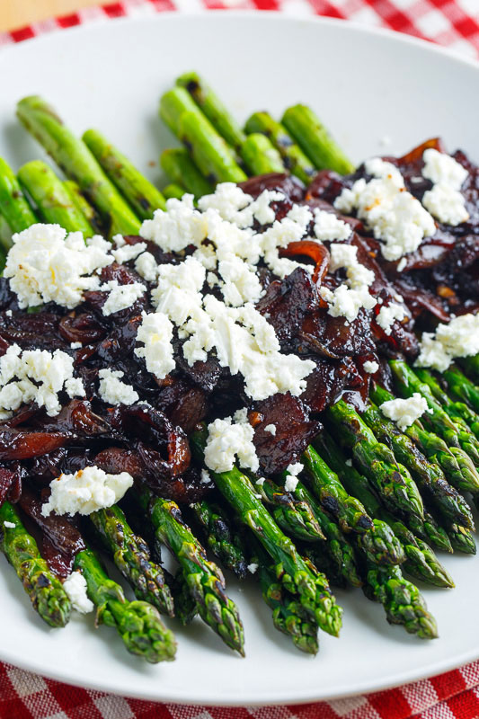 Grilled Asparagus with Bacon and Balsamic Caramelized Onions and Goat Cheese (aka Bacon Jam Asparagus)