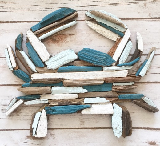 Painted Driftwood Crab Wall Art Decor