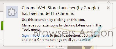 Chrome Web Store Launcher install success
