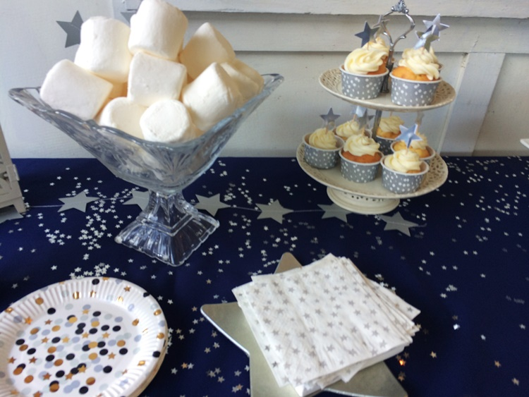 Starry Night Party - star cupcake toppers and giant marshmallows