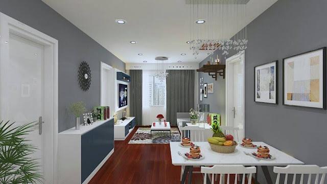 Mẫu thiết kế nội thất phòng khách thông nhà ăn