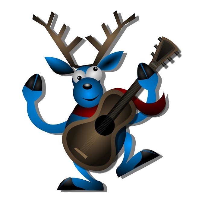 Reindeer with guitar christmas free vector