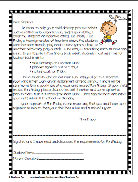 Student Discipline Letter To Parents Recommending Expulsion Forever In Fifth Grade Back 2 School Linky Behavior