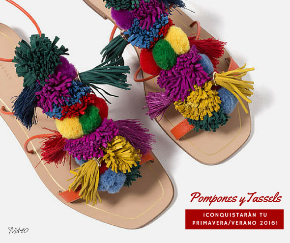 sandalias pompones borlas colores zara