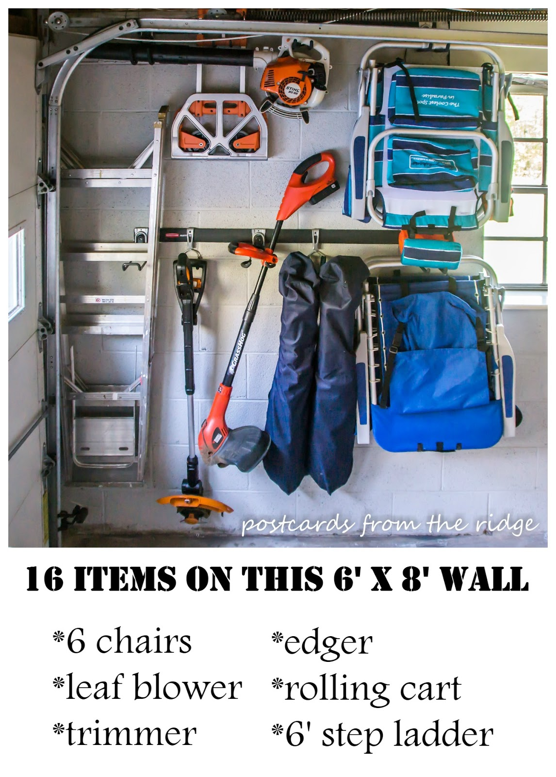Using wall space and FastTrack for organizing the garage
