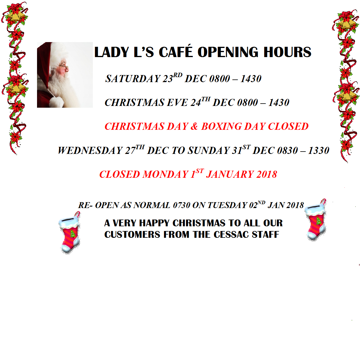 AKROTIRI HIVE: Lady L\'s Cafe - Christmas Opening Hours