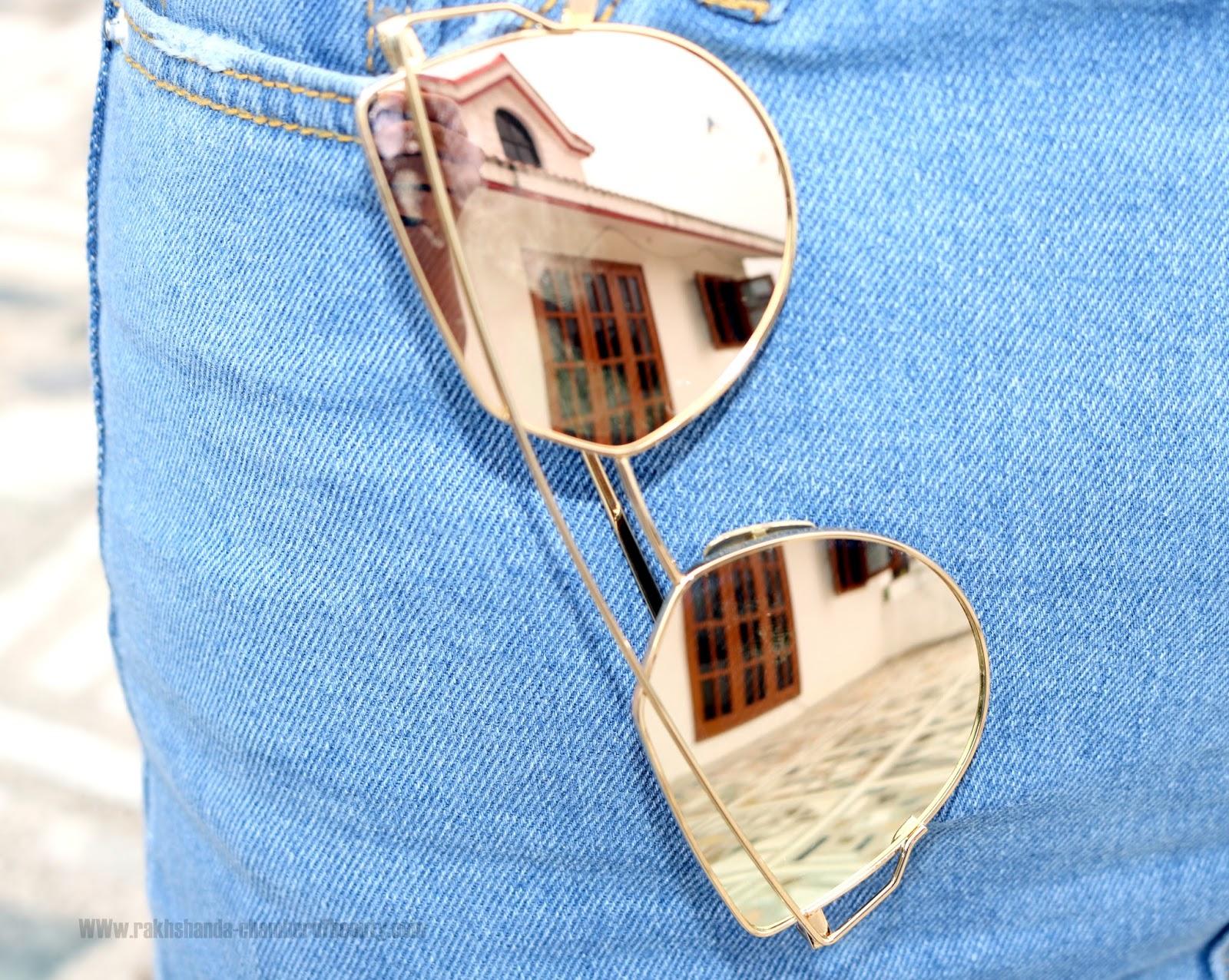 Blue Shirt + Denim Skirt Fall Fashion Trendsautumn outfit, Blue Embroidered collar shirt, fall fashion, fashion,Mirror sunglasses, Indian fashion blogger