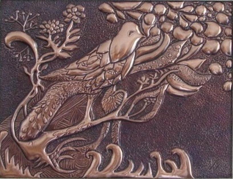 metalloplasie, metaloplastia, metaloplastie, modelarea tablei, métalloplastique, tablouri pe tabla de cupru, tablou, arta plastice, lucru manual, pasare japoneza,