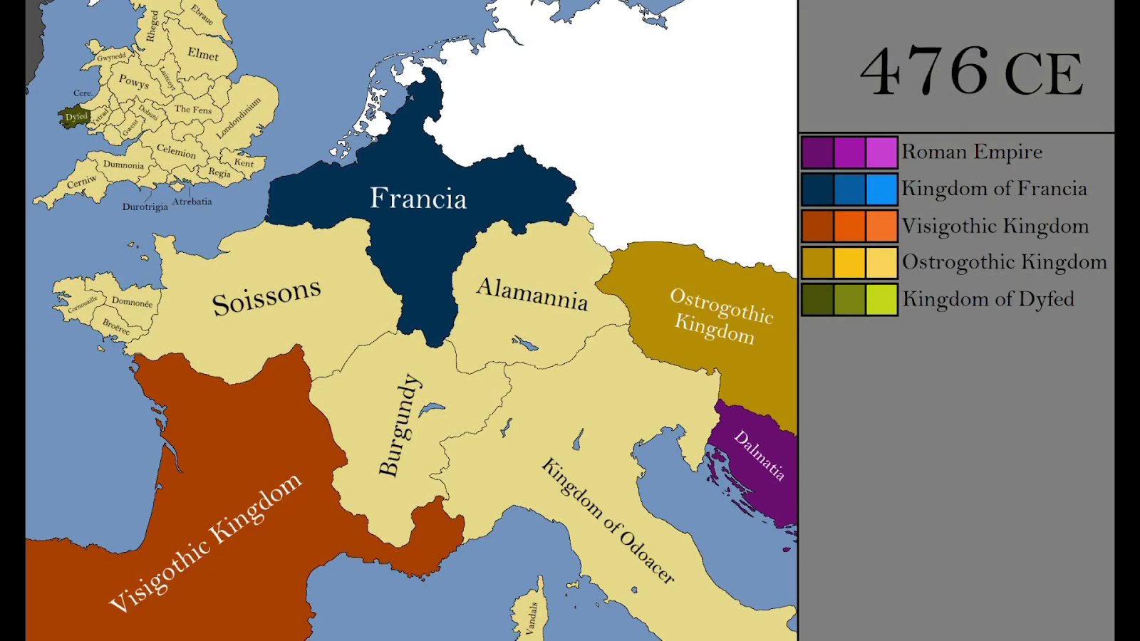 western europe in 476 a d