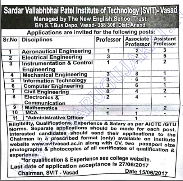 Vasad Recruitment For Various Posts 2017