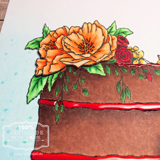 Birthdaycard with Concord & 9th Happy Day Cake Stamp, colored in with Copics and Glossy Accents
