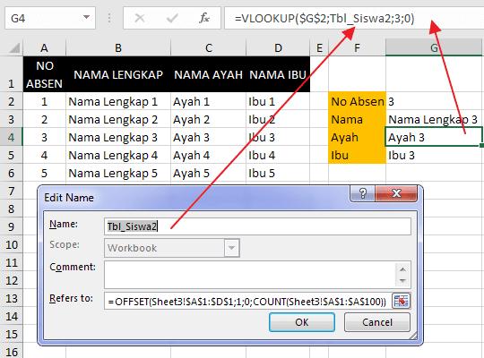 Cara Membuat Nama Range Dinamis pada Excel 5