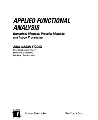 Applied functional analysis_ numerical methods, wavelets