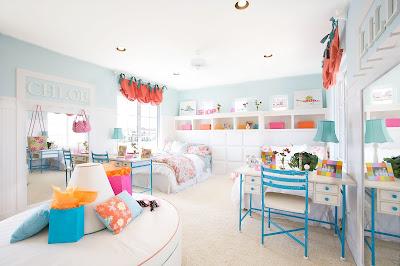 gambar desain dekorasi kamar anak gaya chic warna terang yang indah dan bersih