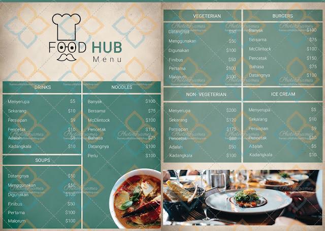 Menú para restaurante en PSD