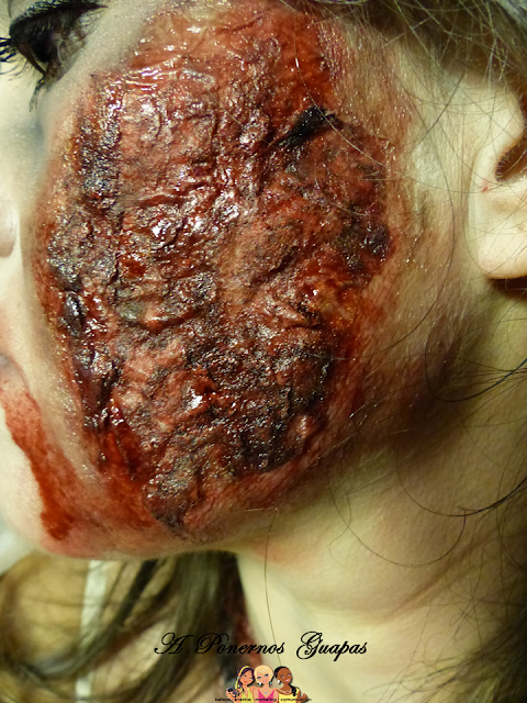 Maquillaje halloween novia zombie Oriflame quemadura
