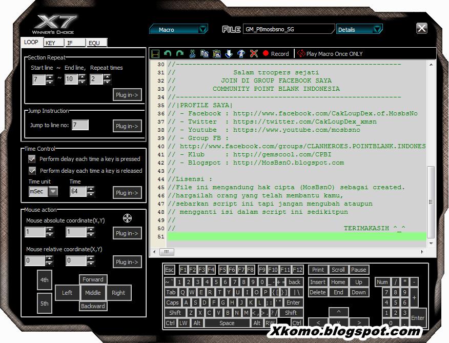 Download Script Mouse Macro X7 a4tech For All weapon Sniper (AWP) & Shotgun (SG)