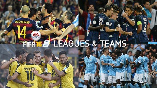Ligas e Clubes do FIFA 16