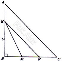 Segitiga siku-siku sama kaki ABC dengan sisi AB dan BC terbagi tiga bagian yang sama di titik K, L, M, N, soal matematika dasar TKPA SBMPTN 2017 no. 48