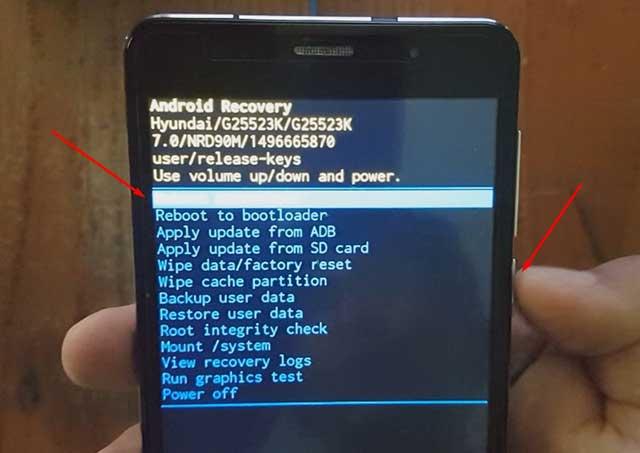 reiniciar el dispositivo hyundai g25523k