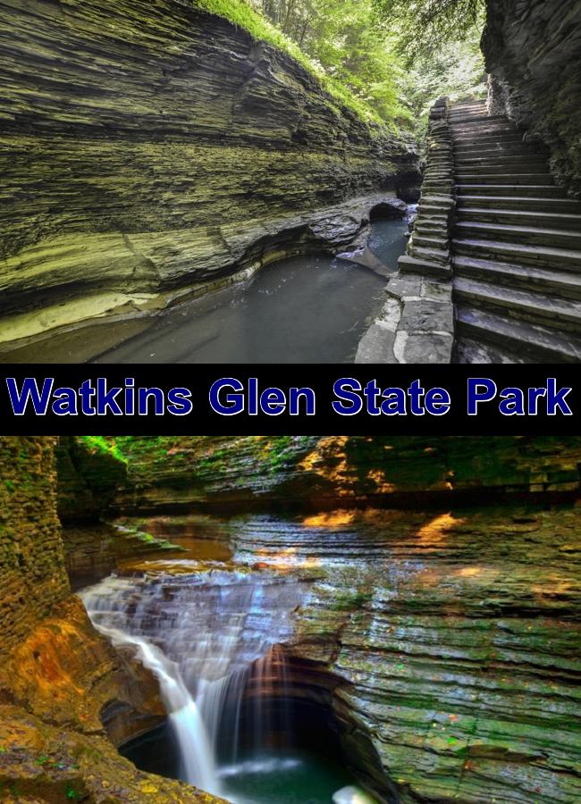 Watkins Glen State Park se encuentra fuera de la aldea de Watkins Glen, en Nueva York, al sur de Seneca Lake en el condado de Schuyler en la región Finger Lakes