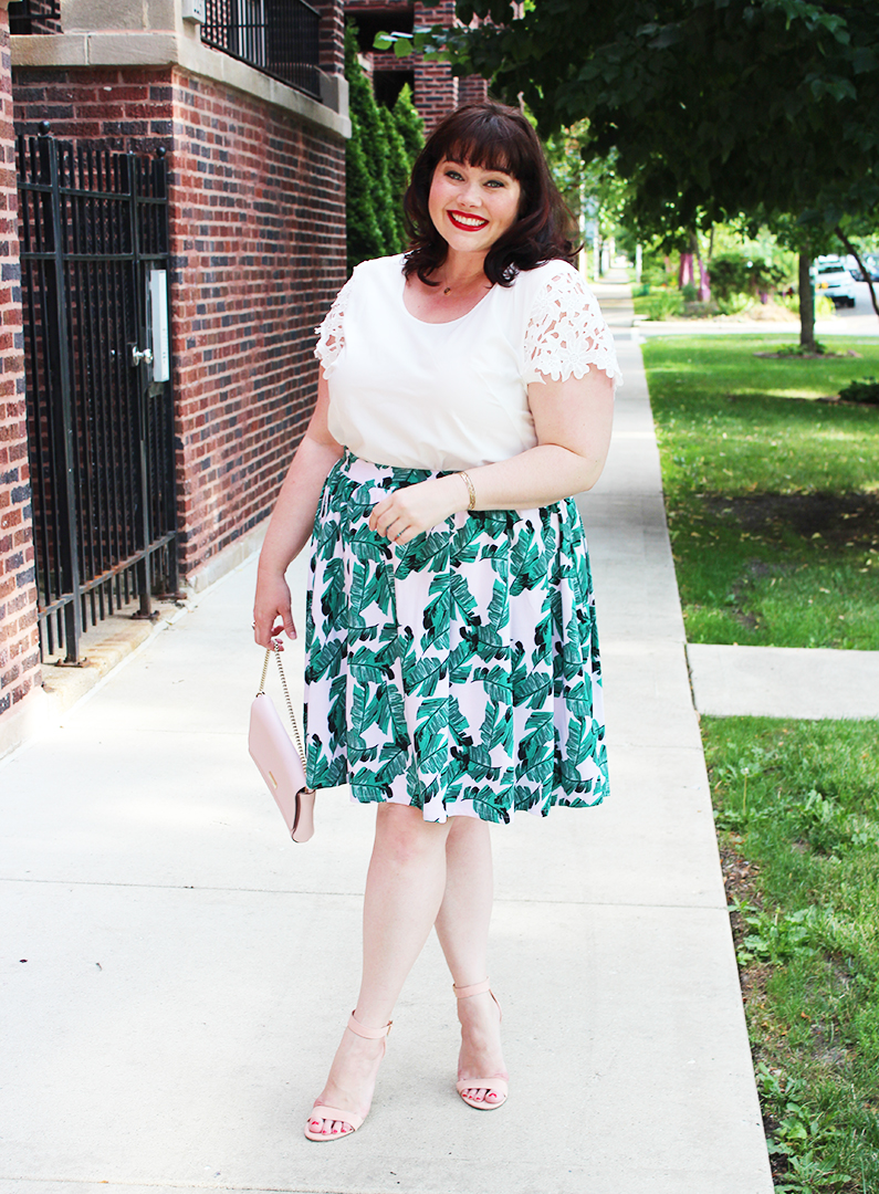 Plus Size Blogger Amber from Style Plus Curves in a Plus Size Palm Print Modamix Skirt from Lord and Taylor
