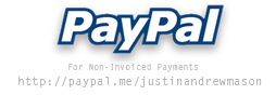 Pay Justin via PayPal. For non-invoiced payments.