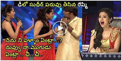 Anchor Reshmi Punch to Sudheer in Live Show