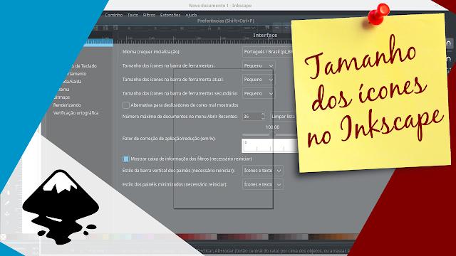 Como configurar o tamanho dos ícones no Inkscape